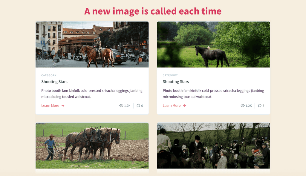 Showing four different images on blog posts