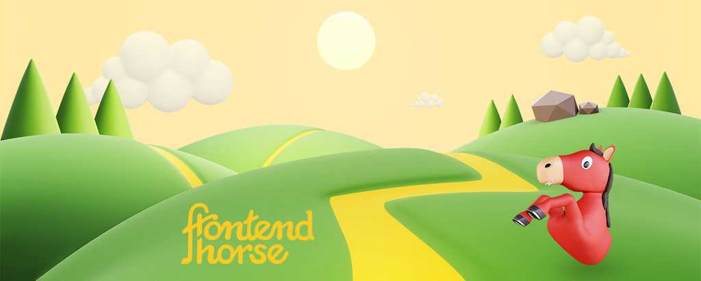 "A sunny trail scene with a horse and ""Frontend Horse"""