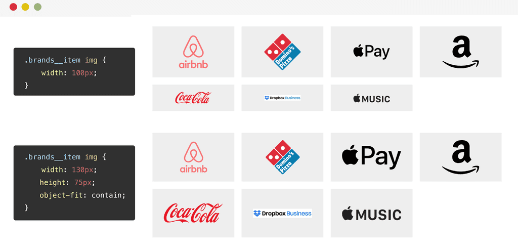 Two grids of logos. One uses object-fit:contain and looks much better!