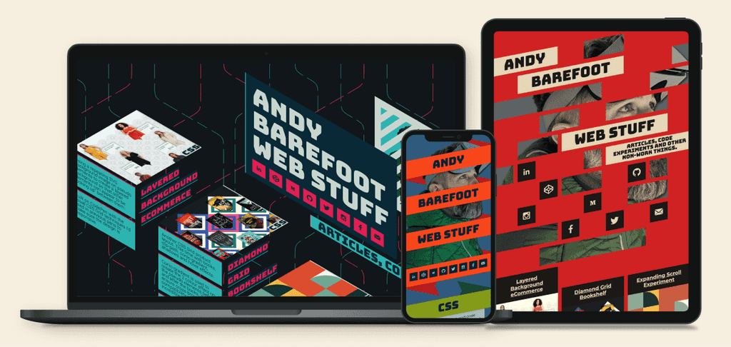 Andy's site in Desktop, mobile, and tablet sizes
